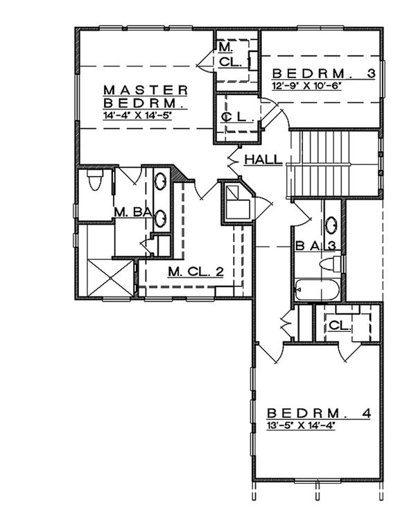 Contemporary Floor Plan - Upper Floor Plan Plan #935-7