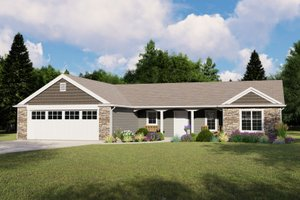 Ranch Exterior - Front Elevation Plan #1064-80
