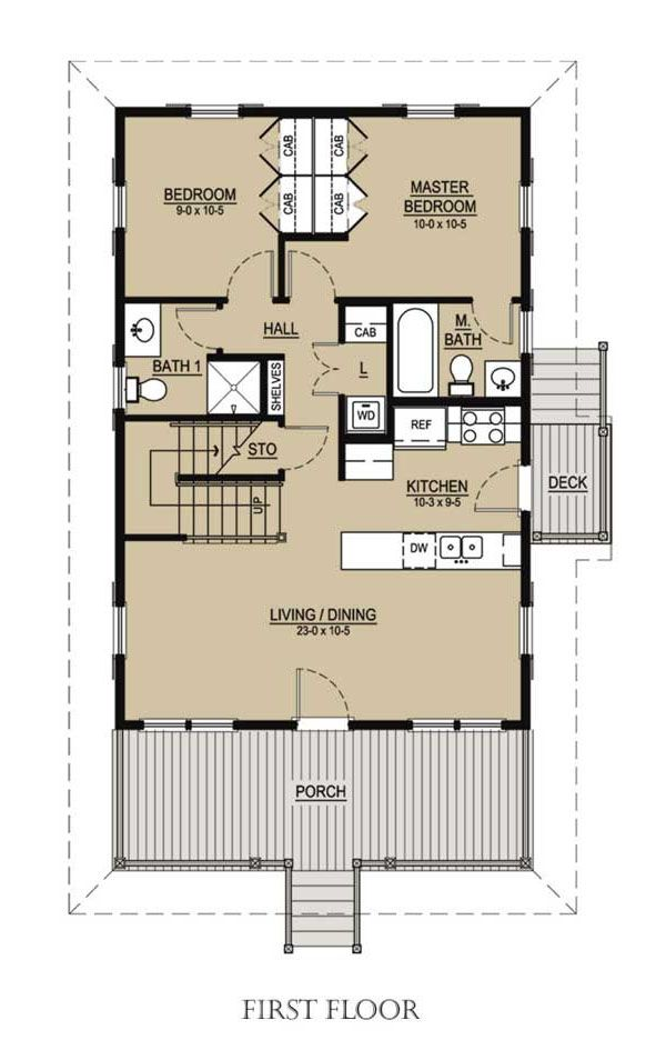 Beach Floor Plan - Main Floor Plan #536-1