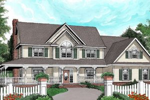 Country Exterior - Front Elevation Plan #11-117