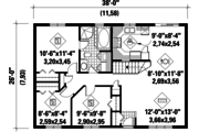 Country Style House Plan - 3 Beds 1 Baths 988 Sq/Ft Plan #25-4828 Floor Plan - Main Floor Plan