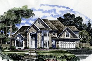 European Exterior - Front Elevation Plan #316-114