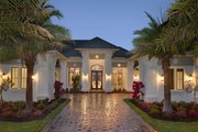 Mediterranean Style House Plan - 4 Beds 4.5 Baths 4817 Sq/Ft Plan #27-560 Exterior - Front Elevation