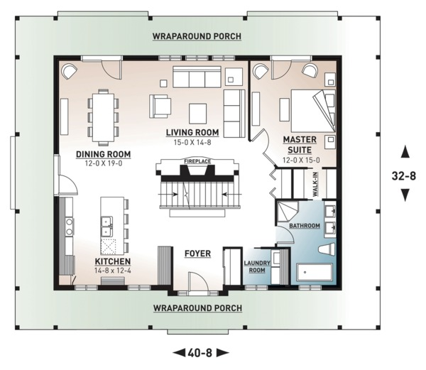 Country Floor Plan - Main Floor Plan Plan #23-2091