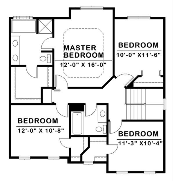 Traditional Floor Plan - Upper Floor Plan #20-2144