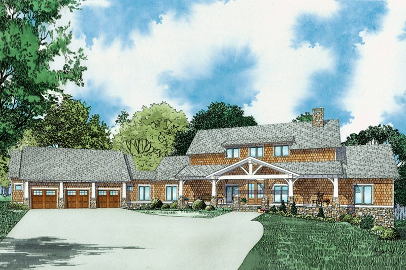 Craftsman Style House Plan - 3 Beds 3 Baths 3417 Sq/Ft Plan #17-3419 Exterior - Front Elevation