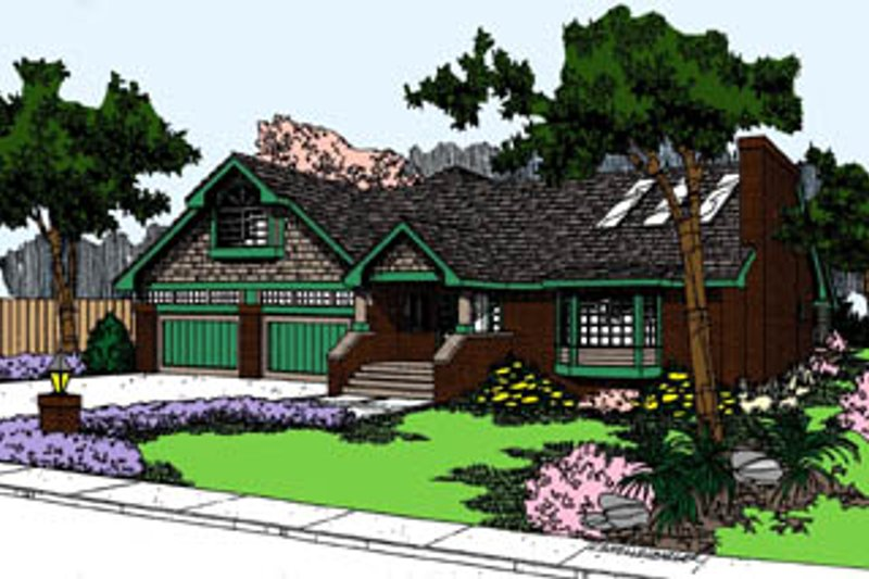 Traditional Exterior - Front Elevation Plan #60-117 - Houseplans.com