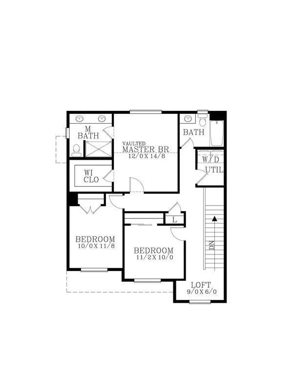 Craftsman Floor Plan - Upper Floor Plan Plan #53-642