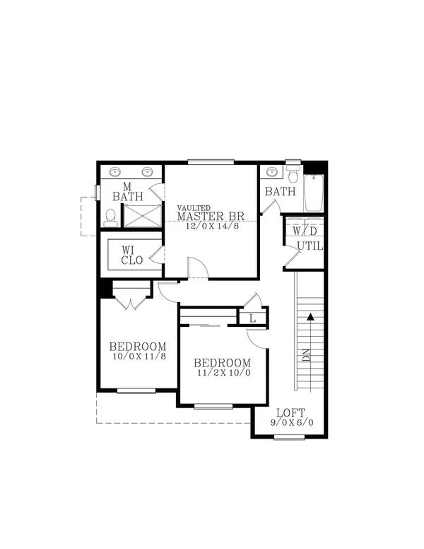 Craftsman Floor Plan - Upper Floor Plan Plan #53-642