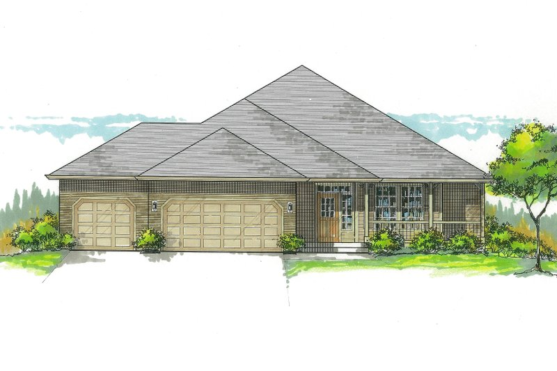 Craftsman Style House Plan - 3 Beds 2.5 Baths 2140 Sq/Ft Plan #53-558 Exterior - Front Elevation