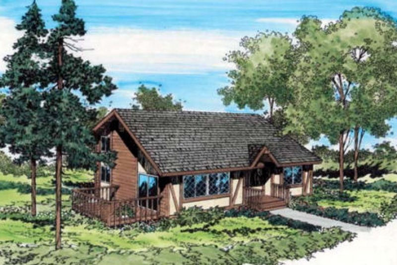 Contemporary Style House Plan - 3 Beds 2.5 Baths 1355 Sq/Ft Plan #312-209 Exterior - Front Elevation