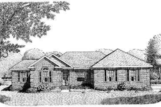 Southern Exterior - Front Elevation Plan #306-111