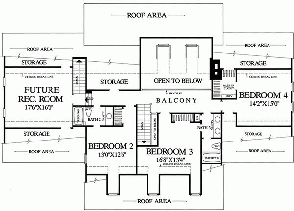 Southern Floor Plan - Upper Floor Plan Plan #137-152