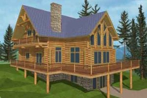 Log Exterior - Front Elevation Plan #117-123