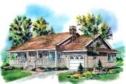 Cottage Style House Plan - 2 Beds 1 Baths 1055 Sq/Ft Plan #18-335 Exterior - Front Elevation