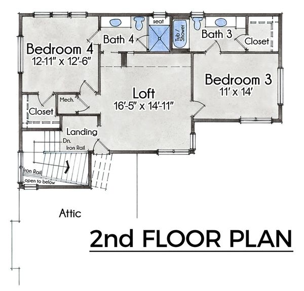 Farmhouse Floor Plan - Upper Floor Plan #935-21