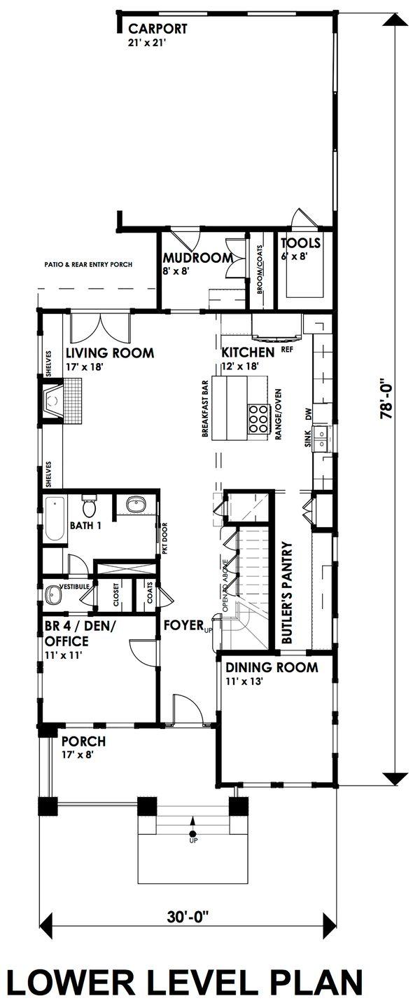 Craftsman Floor Plan - Main Floor Plan Plan #30-350