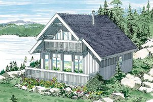 Cabin Exterior - Front Elevation Plan #47-107