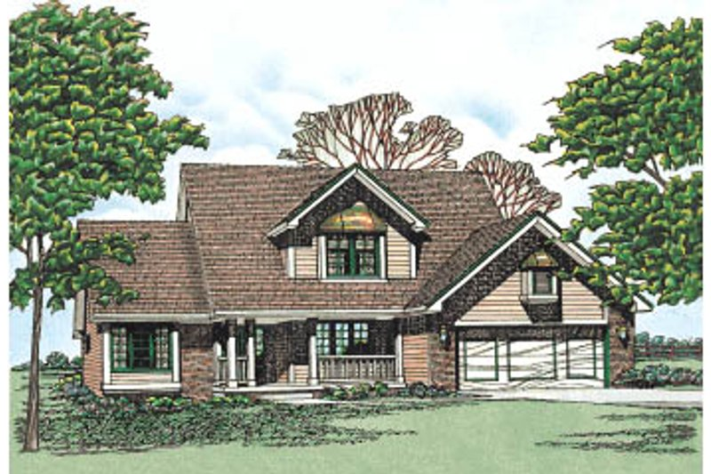 Traditional Style House Plan - 3 Beds 1.5 Baths 1869 Sq/Ft Plan #20-201 Exterior - Front Elevation