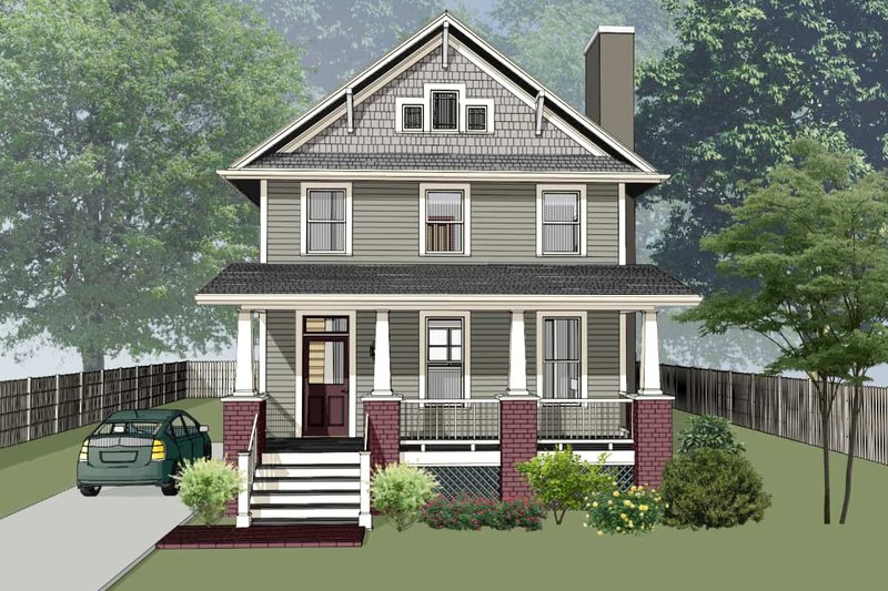 Craftsman Style House Plan - 3 Beds 2.5 Baths 1696 Sq/Ft Plan #79-306 Exterior - Front Elevation