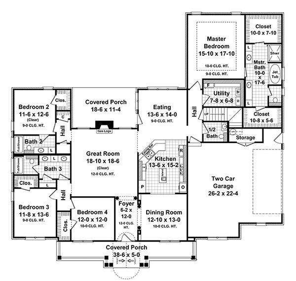 Country Floor Plan - Main Floor Plan Plan #21-299