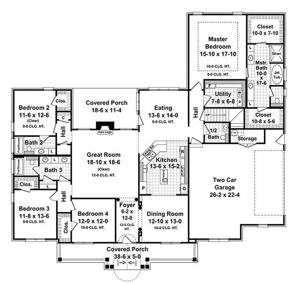 Country Floor Plan - Main Floor Plan Plan #21-299