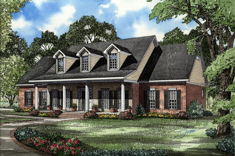 Country Style House Plan - 5 Beds 3 Baths 2698 Sq/Ft Plan #17-205 Exterior - Front Elevation