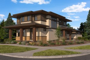 Architectural House Design - Prairie Exterior - Front Elevation Plan #895-125