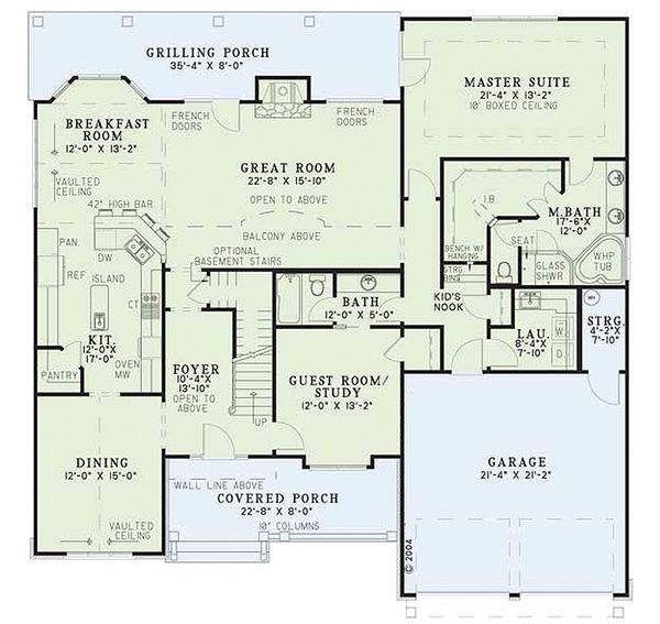 House Plan Design - Craftsman Floor Plan - Main Floor Plan #17-2160