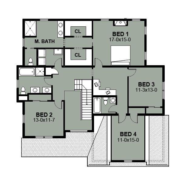 Farmhouse Floor Plan - Upper Floor Plan Plan #497-16