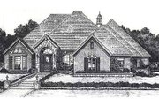 European Style House Plan - 4 Beds 3.5 Baths 2818 Sq/Ft Plan #310-875 Exterior - Front Elevation