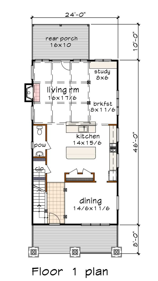 Dream House Plan - Craftsman Floor Plan - Main Floor Plan #79-317
