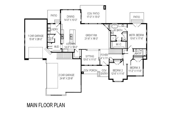 Contemporary Floor Plan - Main Floor Plan Plan #920-15