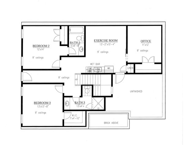 Farmhouse Floor Plan - Lower Floor Plan Plan #437-97