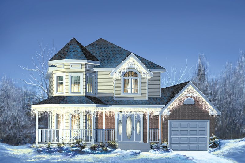 Victorian Style House Plan - 3 Beds 1.5 Baths 1412 Sq/Ft Plan #25-2170 Exterior - Front Elevation