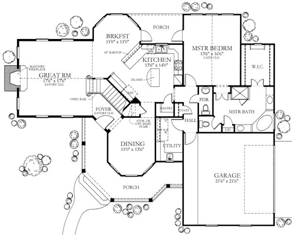 House Plan Design - Country Floor Plan - Main Floor Plan #80-125