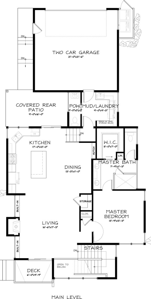 Modern Style House Plan - 3 Beds 2.5 Baths 1977 Sq/Ft Plan #895-18 Floor Plan - Main Floor Plan