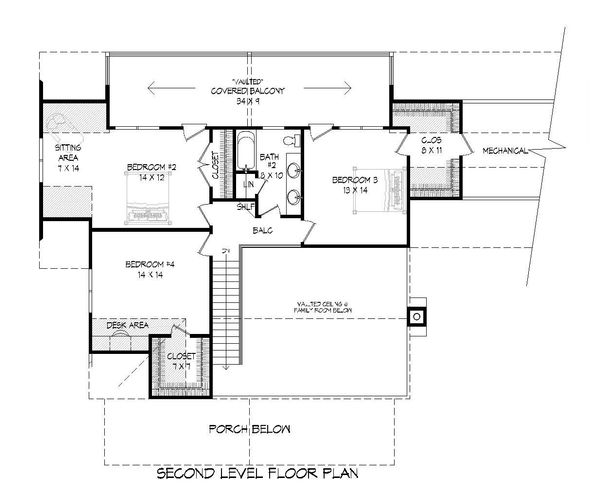 Country Floor Plan - Upper Floor Plan #932-146