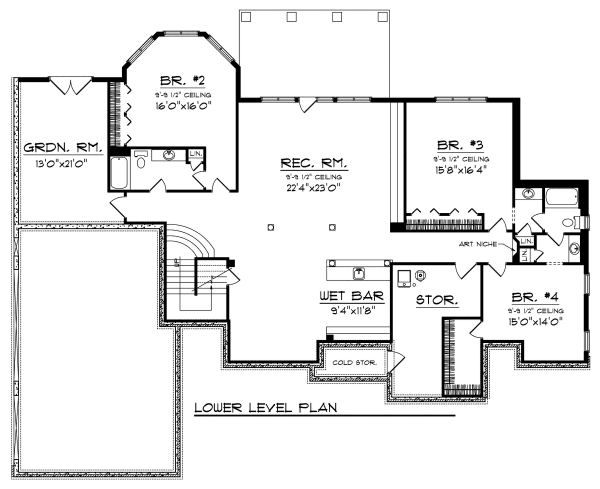 European Floor Plan - Lower Floor Plan Plan #70-889