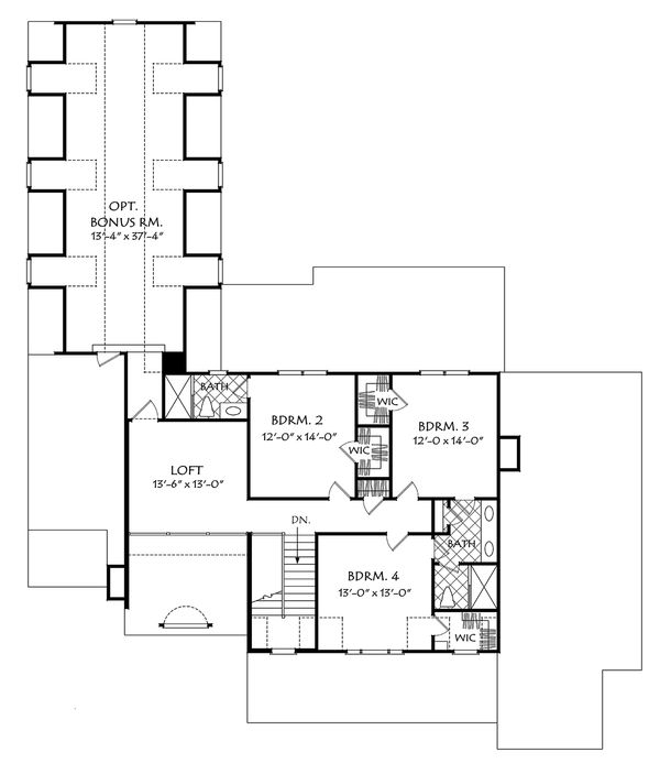 Traditional Floor Plan - Upper Floor Plan Plan #927-43