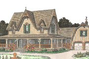 Farmhouse Style House Plan - 4 Beds 3.5 Baths 2772 Sq/Ft Plan #310-163 Exterior - Front Elevation