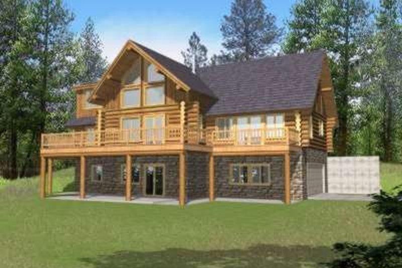 Home Plan - Log Exterior - Front Elevation Plan #117-416