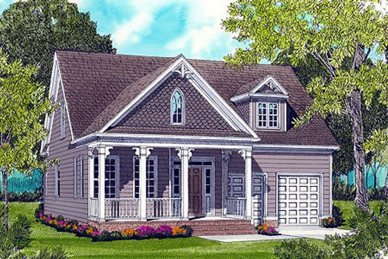 Cottage Exterior - Front Elevation Plan #413-805
