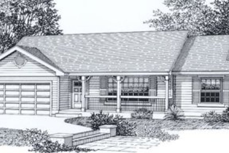 Traditional Style House Plan - 3 Beds 2 Baths 1263 Sq/Ft Plan #53-111 Exterior - Front Elevation