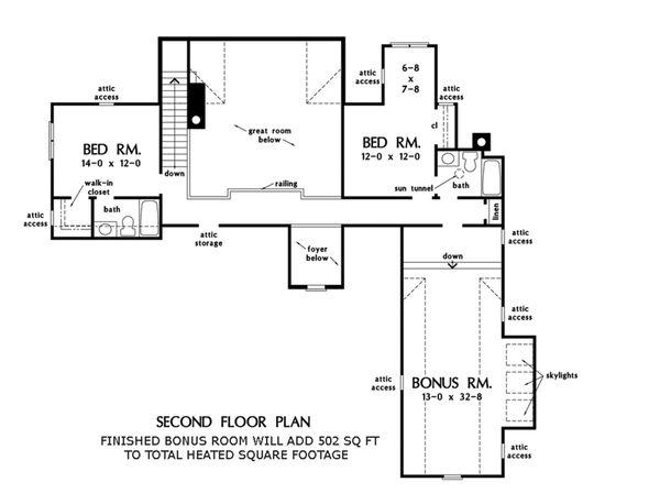 Farmhouse Floor Plan - Upper Floor Plan Plan #929-1063