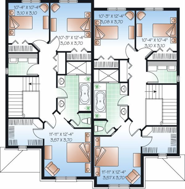 European Floor Plan - Upper Floor Plan Plan #23-774