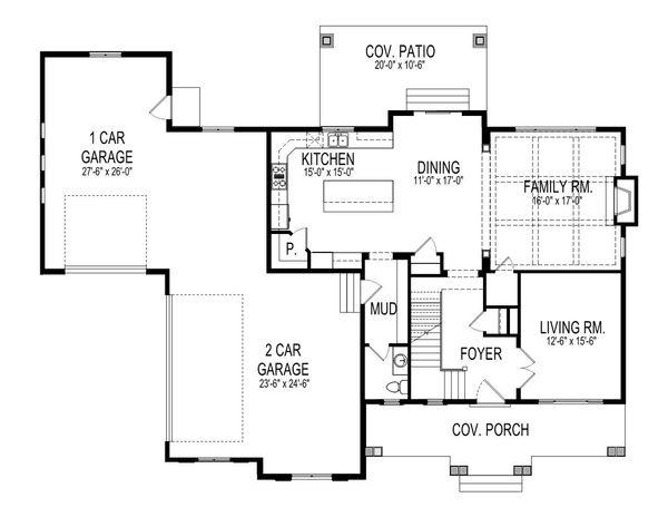 Craftsman Style House Plan - 4 Beds 3.5 Baths 2895 Sq/Ft Plan #920-4 Floor Plan - Main Floor Plan