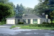 Mediterranean Style House Plan - 4 Beds 2 Baths 2234 Sq/Ft Plan #1-507 Exterior - Front Elevation