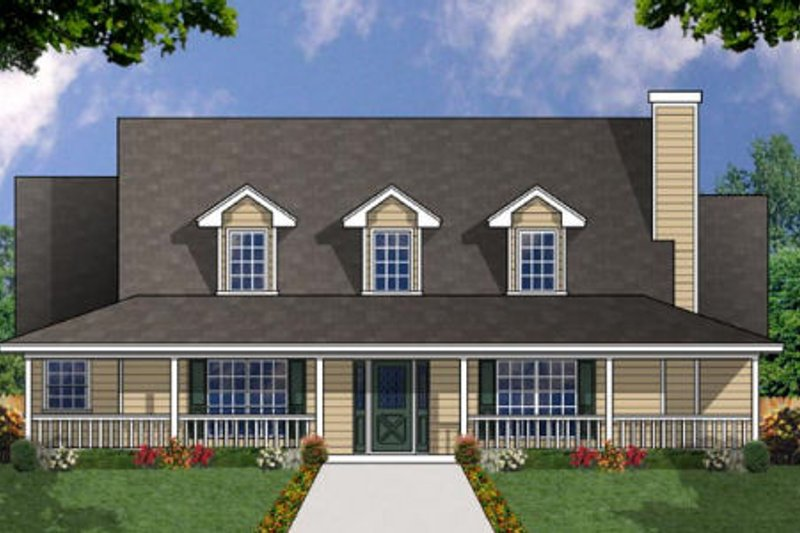 Farmhouse Style House Plan - 4 Beds 3 Baths 2143 Sq/Ft Plan #40-328 Exterior - Front Elevation