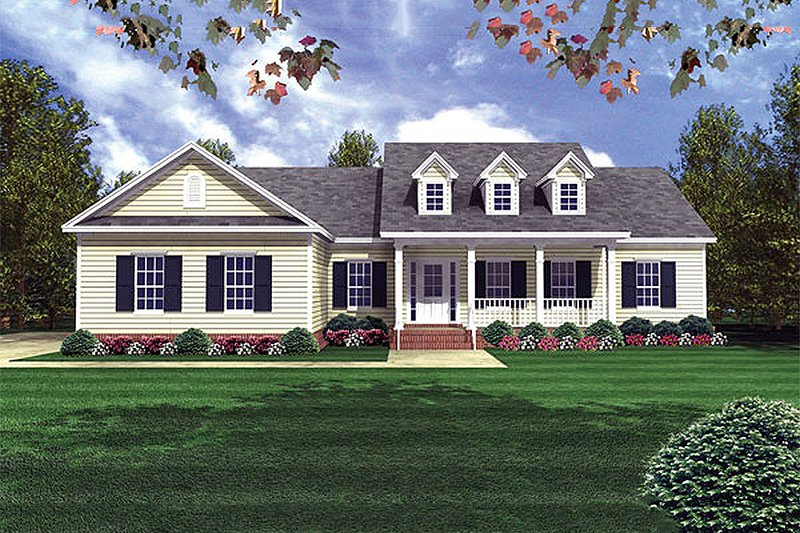Colonial Style House Plan - 3 Beds 3 Baths 1818 Sq/Ft Plan #21-187 Exterior - Front Elevation